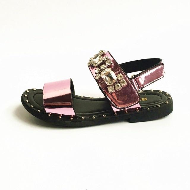 Мода Горный Хрусталь Девушки Сандалии Детская Обувь Зеркало PU Девушки Рыбак обувь Спорт Дети Пляжная Обувь Принцесса обувь