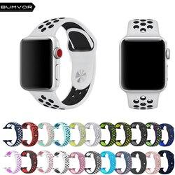 BUMVOR Sport Silikon strap für Apple Uhr Iwatch band 40/44/42/38 MM für iwatch 1 2 3 4 Band männer Gummi armband Mit Adapter