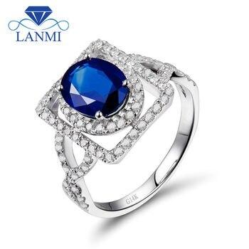 f4fb6cddb084 Estilo Infinity Oval Vintage 5x7mm 14Kt de diamantes de oro blanco zafiro  anillo de compromiso anillo de joyería de zafiro Natural SR131A