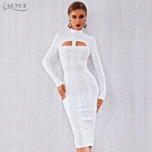 Image 4 - Adyce 2020 novo outono mulheres branco bodycon bandage vestido de manga longa sexy oco para fora clube celebridade festa à noite vestido