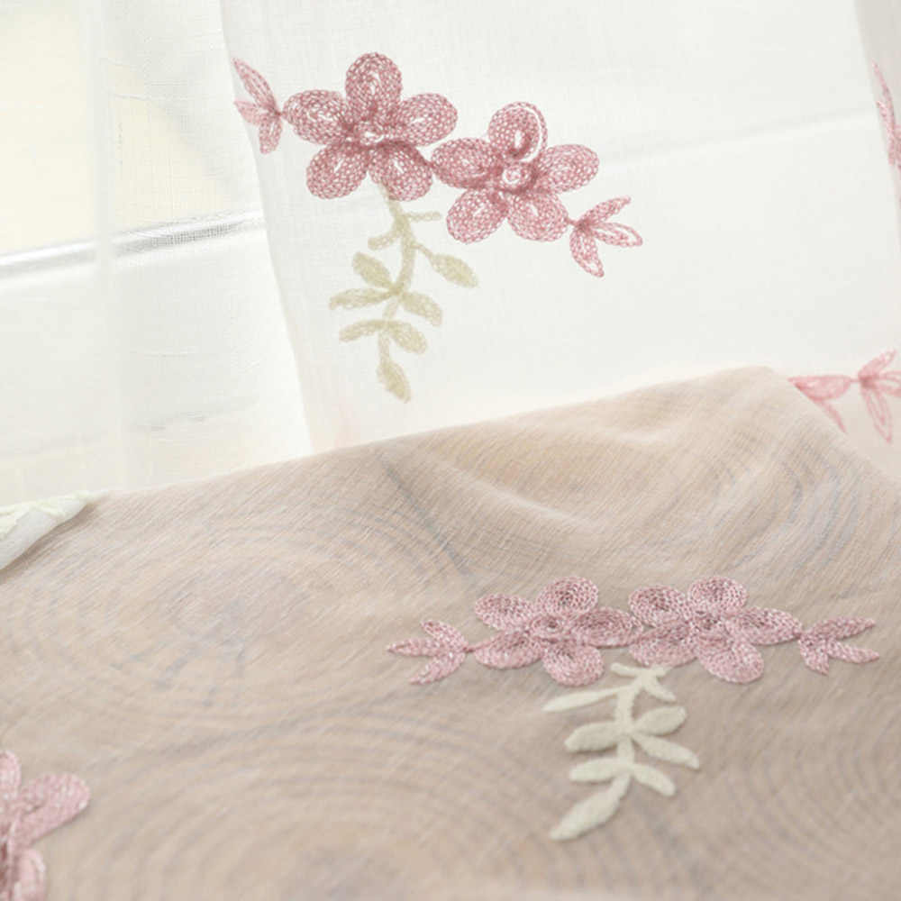 Pink Floral Embroidered Sheer Voile Curtains for Living Room Curtains Panels Tulle Linen Look  Window Drapery Customized TM0143