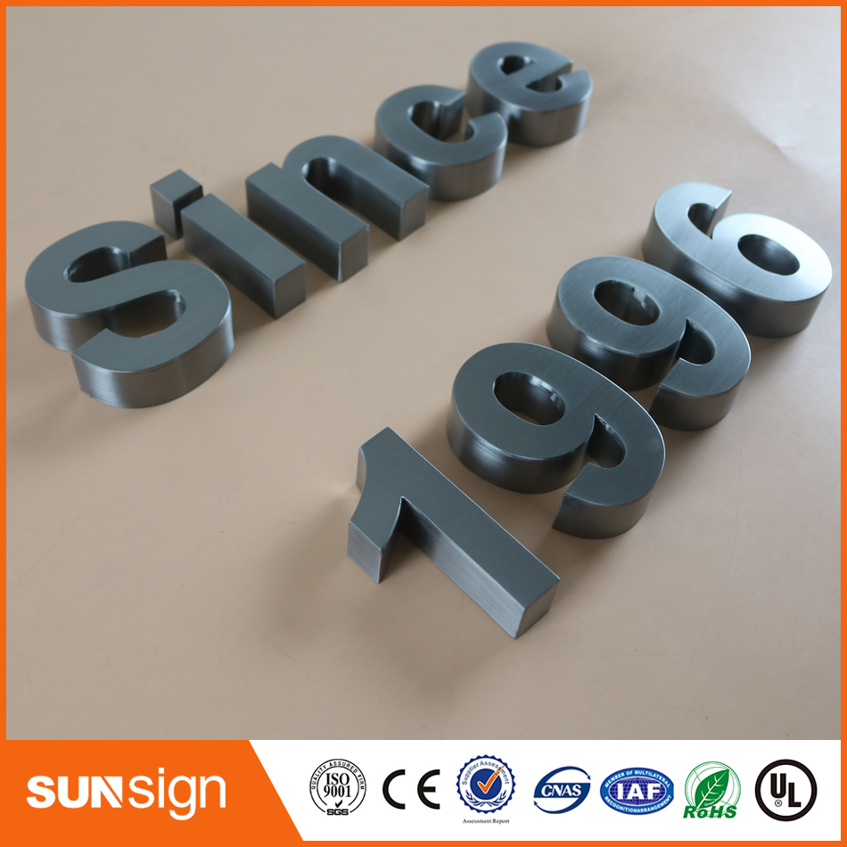 Wholesale Top Quality Outdoor Advertising Brushed Chromed Stainless Steel Channel Sign  Letters