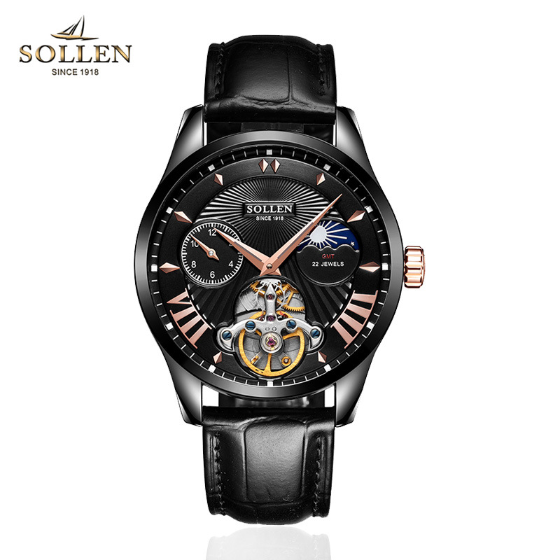 Famous brand SOLLEN genuine watches men automatic mechanical watch Genuine Leather sports wristwatches waterproof dropshippingFamous brand SOLLEN genuine watches men automatic mechanical watch Genuine Leather sports wristwatches waterproof dropshipping