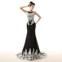 Фактические фото Элегантный черный и белый вечернее платье Русалка рукавов аппликация Длинные официальная Вечеринка платье плюс Размеры