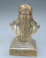 China Pure Brass Genghis Khan Bust Statue Carved Auspicious Flowers