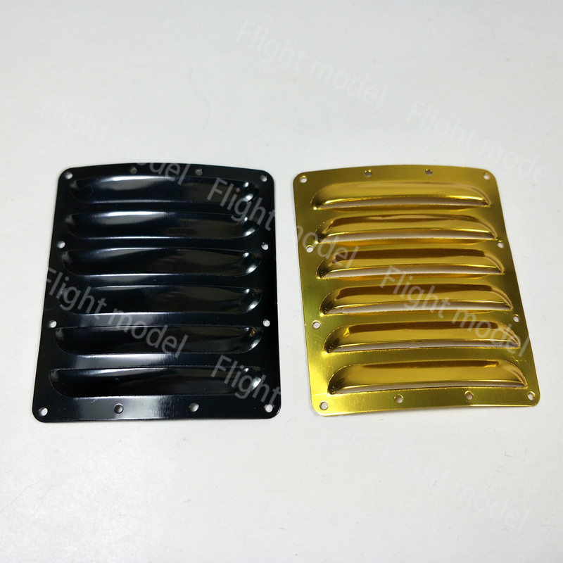 2pcs/Set Aluminum RC Airplane Cowl Cooling Fin 73mm*62mm*0.5mm Gold/Black