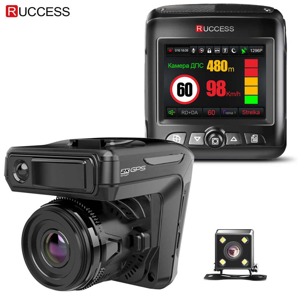 Ruccess STR-LD200-G 3 in 1 Car DVR Radar Detector Laser With GPS Full HD 1296P 1080P Dual Recorder Dash Camera Front and Rear