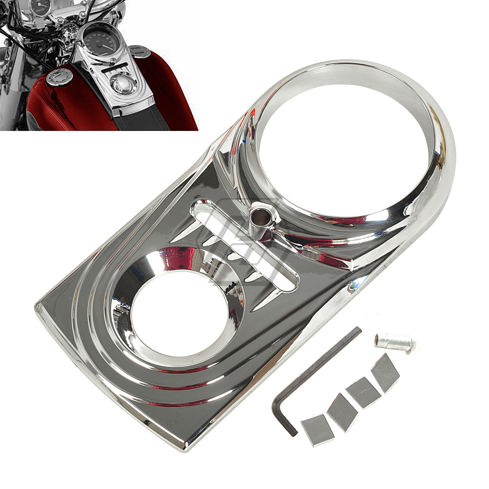 Chrome Motorcycle Dash Panel Insert Cover Case for Harley Heritage Softail Springer Fatboy FL FXChrome Motorcycle Dash Panel Insert Cover Case for Harley Heritage Softail Springer Fatboy FL FX