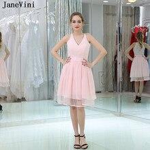 a257c1e3c8f JaneVini Simple Pink Lace Short Bridesmaid Dresses V Neck Sleeveless Chiffon  A Line Formal Gowns Robe Rose Demoiselle D honneur