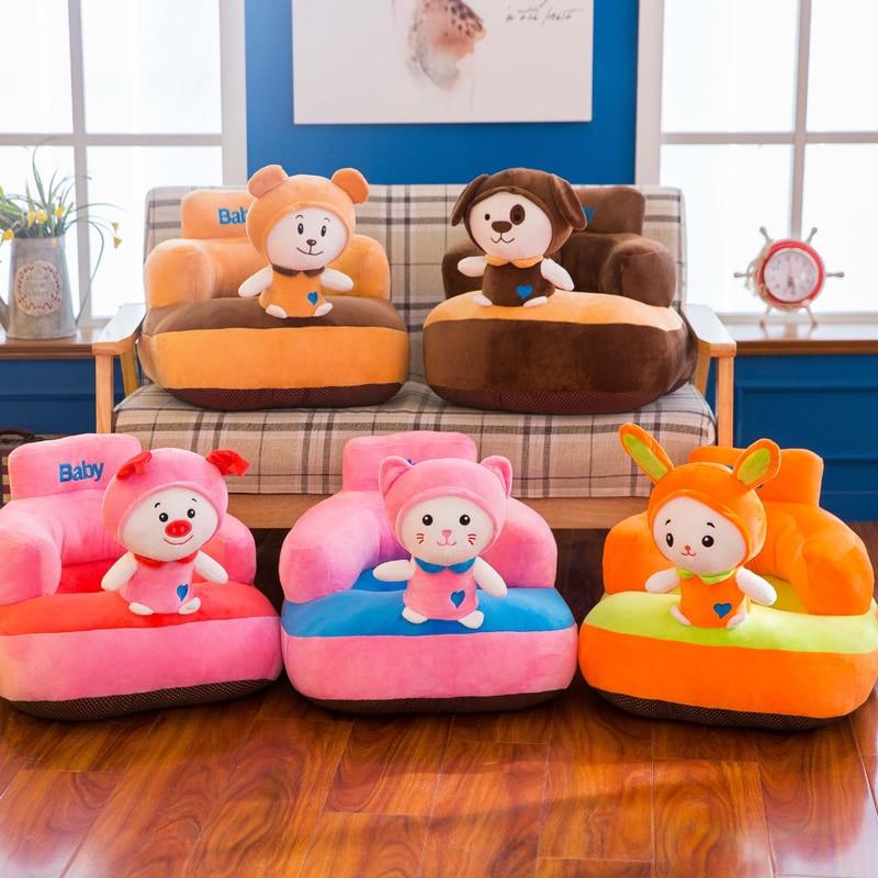 цена на Baby Seat Sofa Cartoon Bear Baby Chair 1-6T Kid Bean Bag Removable Baby Plush Chair Cute Cat Baby Support Seat Bebe Eating Chair