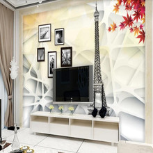 Factory direct simple Paris impression maple leaf 3D space sofa, bedroom, living room wall