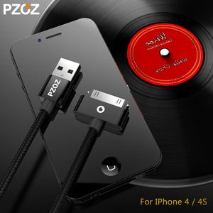 PZOZ usb cable for iphone 4s charger usb cable fast charging for iphone 4 s iPod Touch Nano iphone4 30Pin adapter Data Sync cord(China)