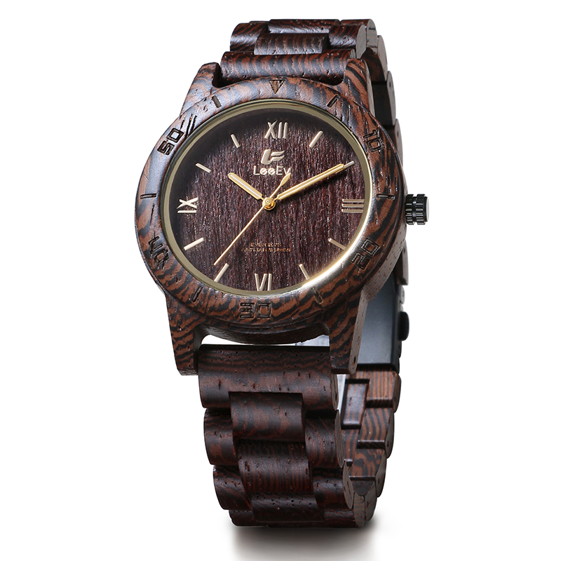 LeeEv EV2075 Mens Unique Natural Wenge Wood Watch Analog Quartz Light Weight Vintage Wooden Wrist Watch unique natural wood sunglasses