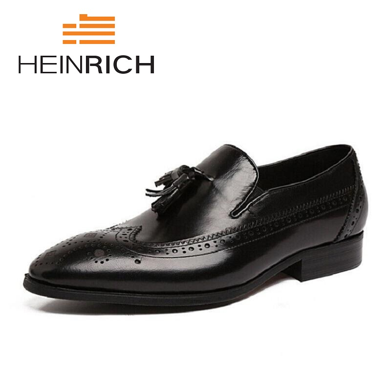 HEINRICH New Autumn Business Men Casual Shoes Luxury Tassel Male Leather Shoes Breathable Brown Brogue Loafers Shoes Sepatu Pria mycolen 2018 brand new spring autumn men breathable loafers black shoes lightweight fashion casual men shoes sepatu pria