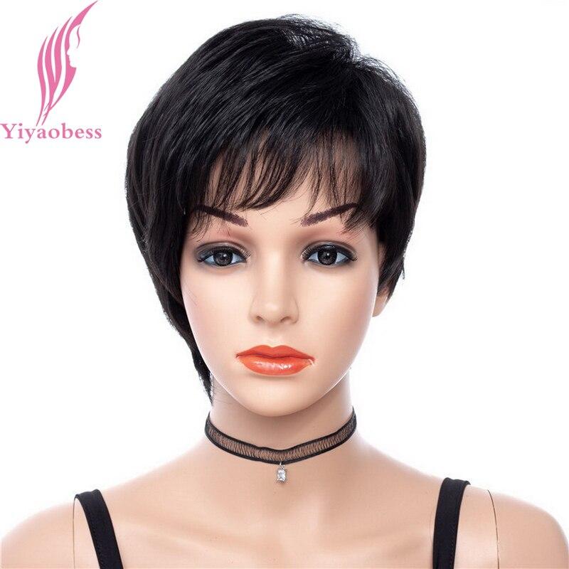 Yiyaobess 6 polegada Natural Penteado Curto Peruca de Cabelo Sintético Preto Em Linha Reta Perucas Africano Americano Para As Mulheres de Fibra de Alta Temperatura