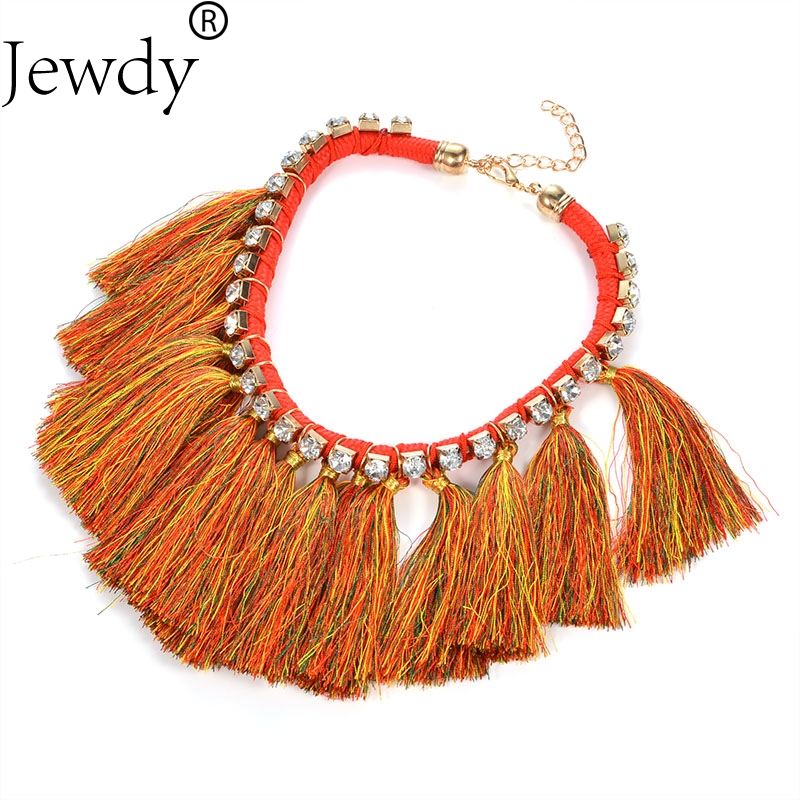 Jewdy tassel charm maxi necklace for women fashion jewerly wedding party gift