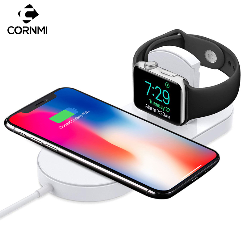 2 in 1 Stand Charging Pad Wireless Charger for iPhone X 8 Plus for Apple Watch Series 2/3 for