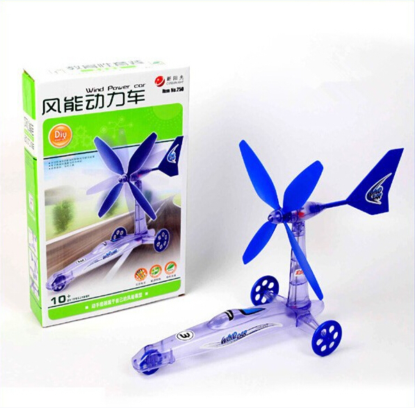 2015 hot sales build your own green environmental protection diy wind power car toy move windmill