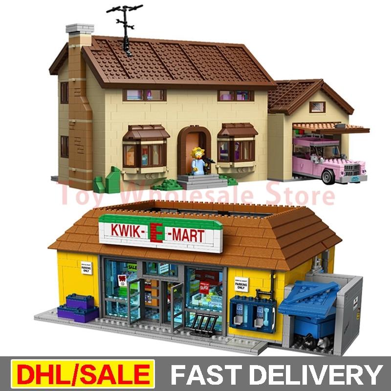 LEPIN 16004 the Simpsons KWIK-E-MART + 16005 Simpsons family Model Building Blocks For children Toy Clone 71016 71006