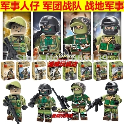 Decool Police Military SWAT Army With Weapons Building Blocks Figures Enlighten Bricks Toys For Children Compatible With Legoe decool 2114 building blocks military uh 60 black hawk plane airplane helicopter bricks blocks children toys compatible with lego