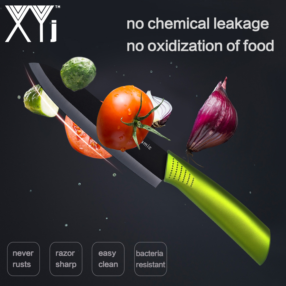 XYj Black Blade Kitchen Knives Chef Ceramic Knife Set 3 4 5 6 inch Fruit Veg Meat Sushi Fish Sashim Ceramic Cooking Knife