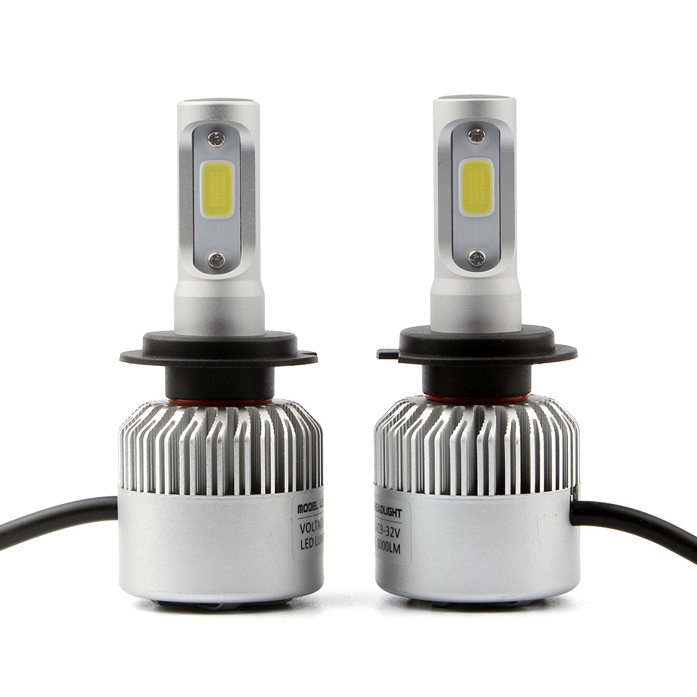 2 pcs S2 COB LED Auto Car Headlight Bulbs H7 Tunggal Beam 72W 8000lm - Lampu mobil - Foto 1