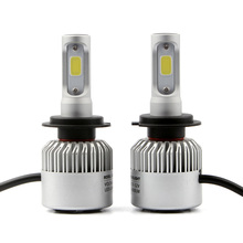 2pcs S2 COB LED Auto Car Headlight Bulbs H7 Single Beam 72W 8000lm Pure White 6500K Front Fog Light Lamp 12V 24V.