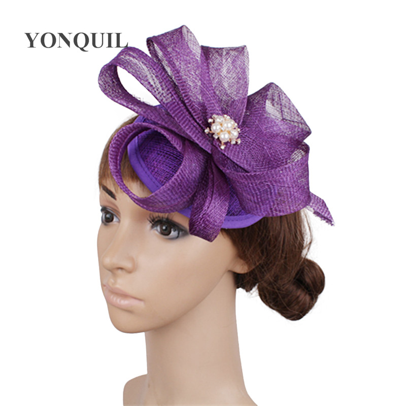 elegant millinery hats sinamay base with brooch fascinator hair accessories party occasion headwear cocktail headpieces 17 color