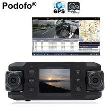 Dual Coche de la Lente de Dos Lentes de la Cámara Del Vehículo DVR Dash Cam Bucle grabadora de GPS de Seguimiento Del Perseguidor g-sensor CA365 X8000 Twins Cam Cuadro Negro