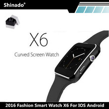 2016 Bluetooth Smart Watch X6 Curved Screen Fashion font b Smartwatch b font For IPhone Android