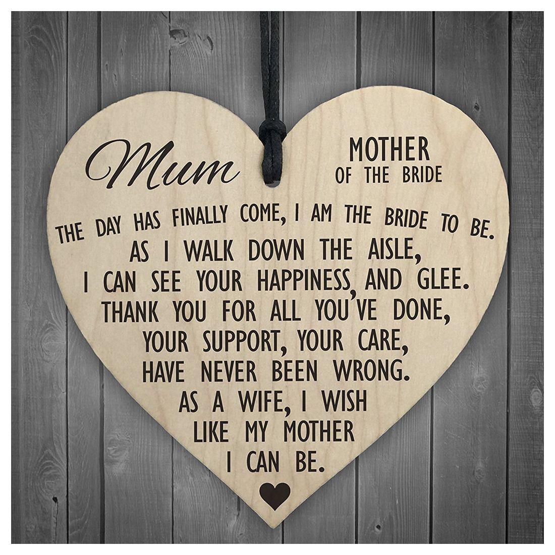 mother of the bride to be wooden hanging heart wedding plaque mum