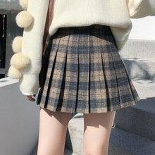 Новое поступление Клетчатая Шерстяная плиссированная юбка женская зимняя винтажная шерстяная школьная мини-юбка с высокой талией для женщин