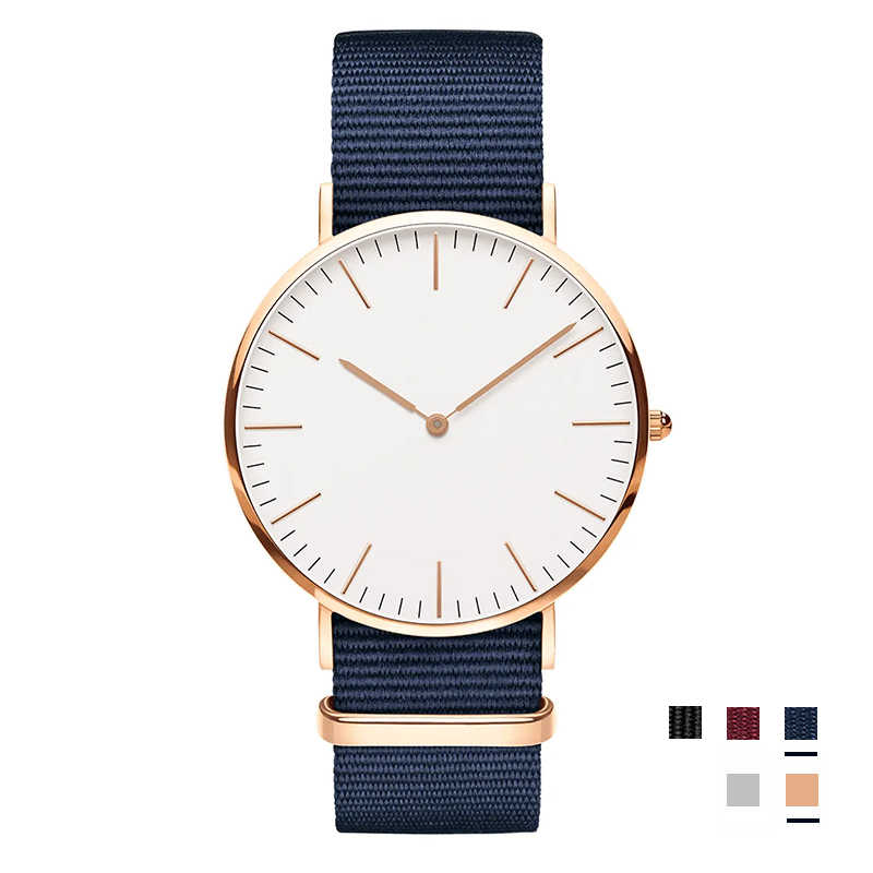 Big Brand Mens Woman Watch 40mm Rose Silver Dial Quartz Red Blue Black Nylon Strap For Woman's Watches