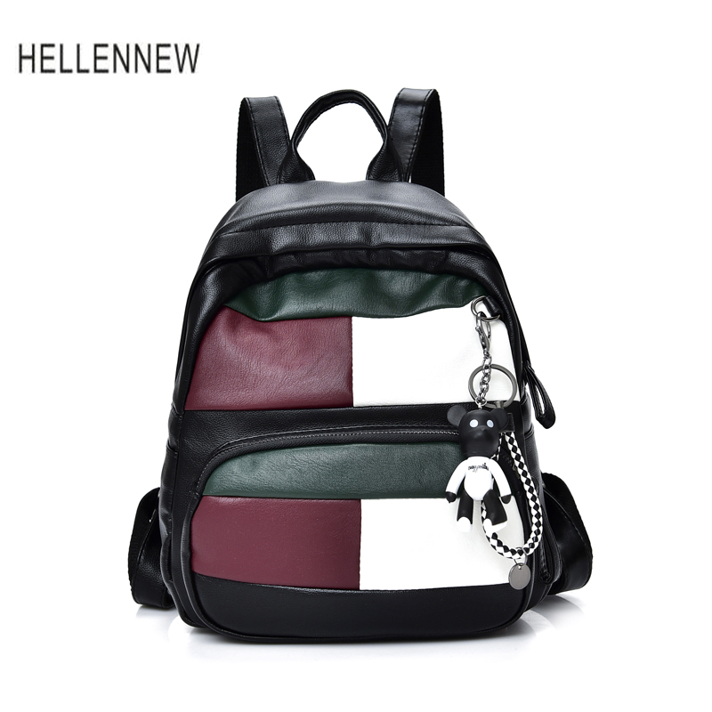 Hellennew Women Casual Washable Leather Backpacks Ladies Travel Bags School Student Water Proof Soft Backpacks with Bear Hanging