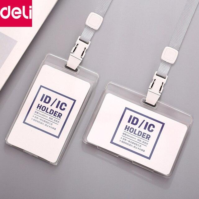 Deli 10pcs/Pack Plastic ID Card Badge Holder Transparent