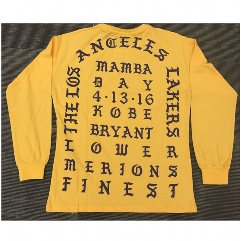 I Feel Like Kobe Mamba Day Pablo MSG Long Sleeve kanye west T shirt GOLD <font><b>Color</b></font> Purple Letters Weekend <font><b>Life</b></font> Freeshipping cmy1126