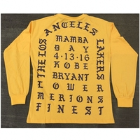 I Feel Like Kobe Mamba Day Pablo MSG Long Sleeve T Shirt GOLD Color Purple Letters
