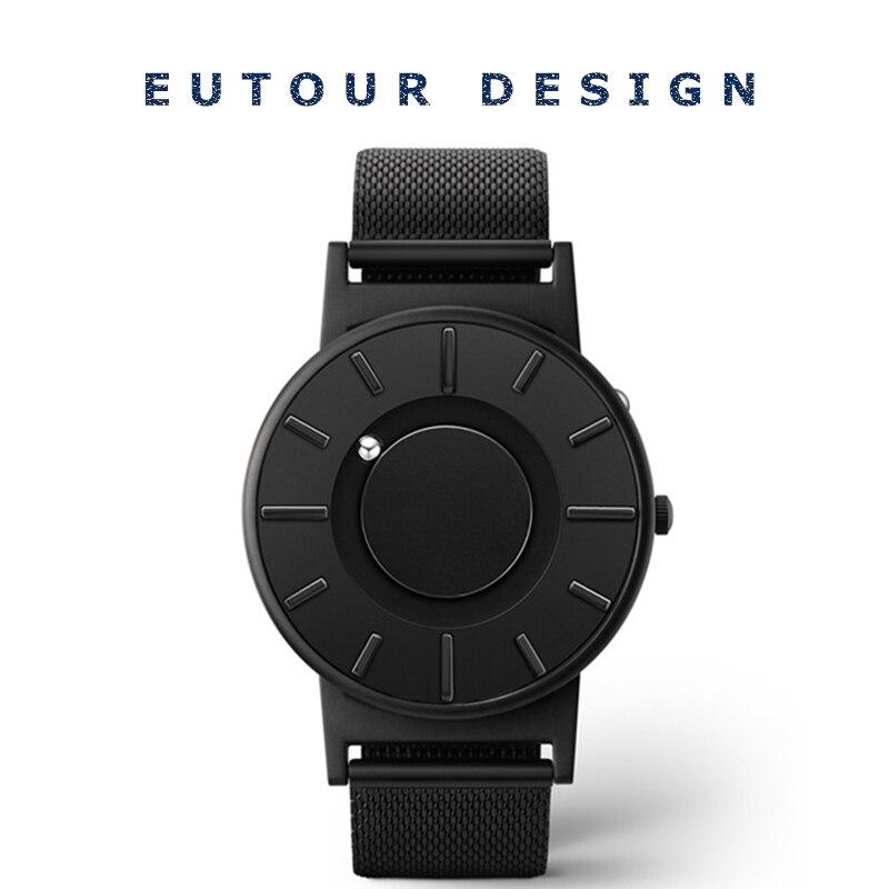 Eutour для мужчин Роскошные Лидирующий бренд лаконичный инновации наручные часы модные повседневное Спорт Магнитная Нержавеющая Сталь