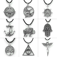 Original New Leather Chain Deathly Hallows Hamsa Pendant Necklace Women Vintage Silver Anchor Choker Necklace Men Jewelry Gift vintage cross anchor sweater chain for women