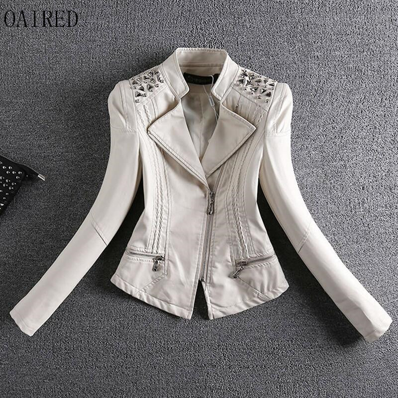 Leather   Coat Women NEW 2019   Leather   Jacket Women Short Slim Motorcycle   Leather   Clothing Female Outerwear Black Red OAIRED