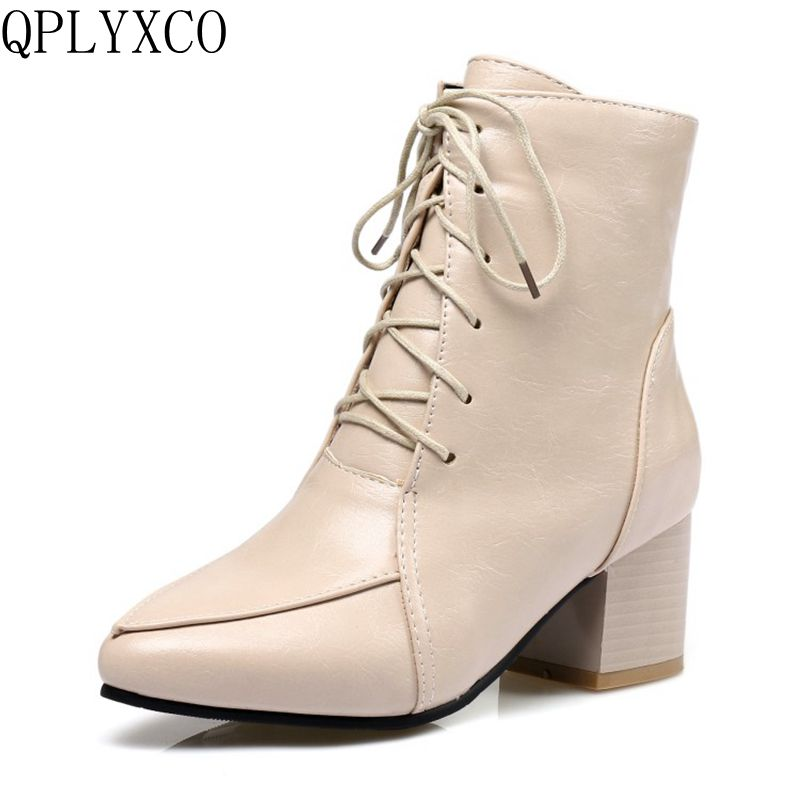 QPLYXCO New Sale Big size 32-45 ankle boot short Sexy Women's pointed Toe Lace up heel shoes wedding Party shoes C9-22 qplyxco 2017 new sale ladys big size 30 47 shoes women pumps fashion sexy high heels shoes party wedding pointed toe shoes a 3