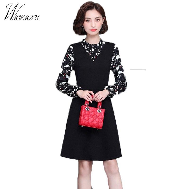 WMWMNUWill the new spring 2017 mm fat thin A word Korean large size women Print Chiffon dress tide