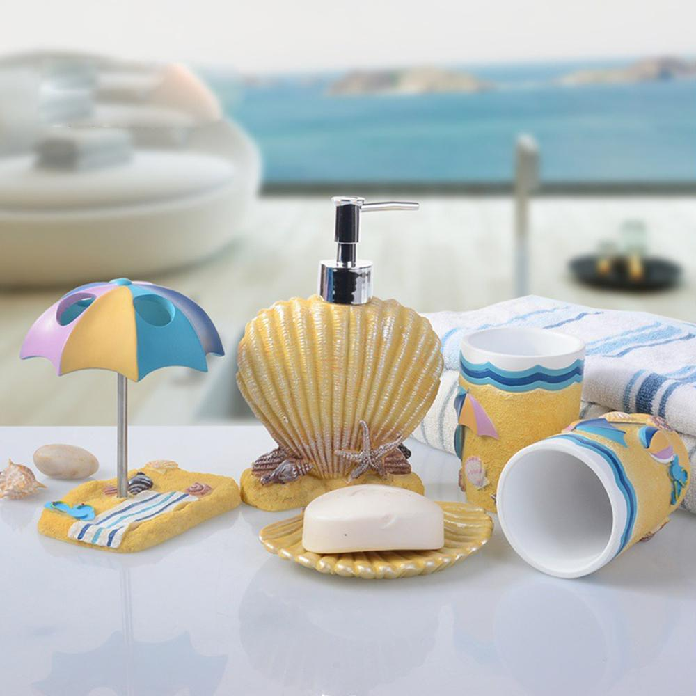 Bathroom Accessories Set 5pcs Children Sea Shell Style