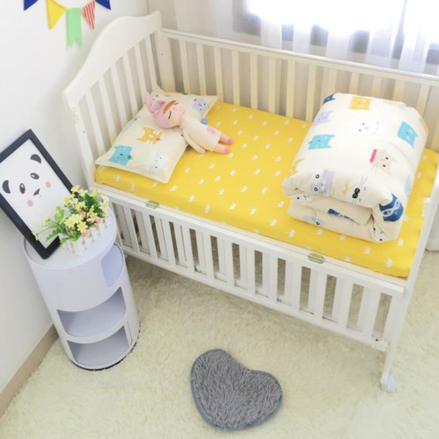Baby Bedding Set Cotton Cartoon Infant Bed Linen Duvet Cover Kids Bed Flat Sheet Newborn Pillowcase Baby Room Decor Baby Bed Set