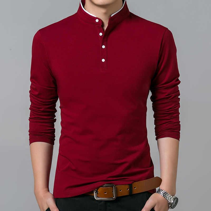 Высококачественная Мужская рубашка поло, Мужская Однотонная рубашка поло с длинным рукавом, Camisa Polo Masculina, популярные повседневные хлопковые топы больших размеров S-3XL