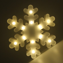 Christmas Xmas White Snowflake Sign 3D Marquee Figure Night Light LED Nightlight Desk Lamp For Kids Gift Decoration Props Gadget