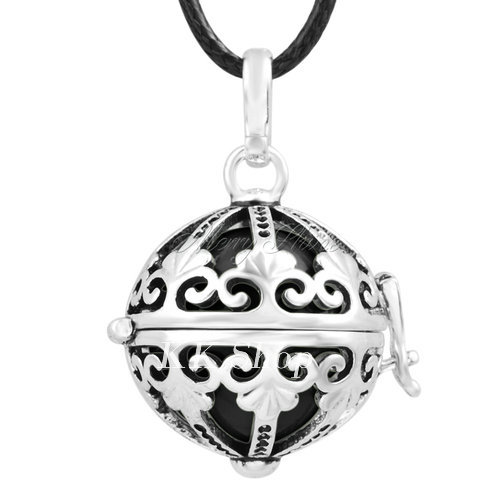 Беременность подарок для ребенка из черненого Медь в форме металлической птичьей клетки кулон ангел абонент Подвески 20 мм Музыкальный шар, гармония Bola кулон Цепочки и ожерелья H119 - Окраска металла: Black