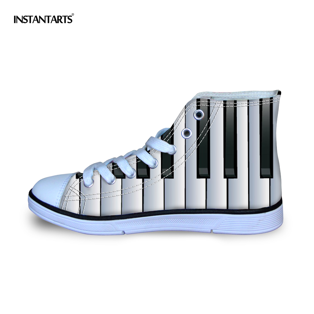 INSTANTARTS Music Notes With Piano Keyboard Print Kid Flats Shoes Teen Boy Girl High Top Casual Canvas Shoes Autumn Lace Up Shoe plus size music notes rainbow print hoodie