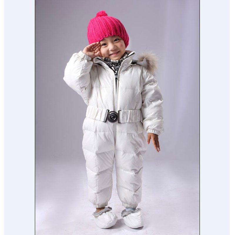 Winter White Duck Down Rompers Overalls for Newborns Children Fashion Warm Outerwear Jackets Child Baby Boys Girls Coat Clothing 2016 winter boys ski suit set children s snowsuit for baby girl snow overalls ntural fur down jackets trousers clothing sets