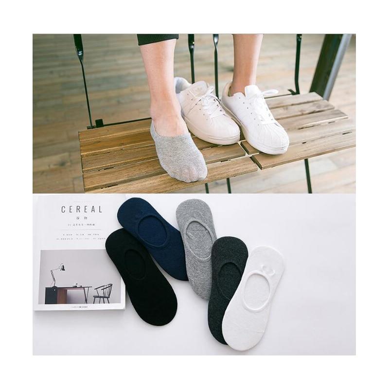 Free shipping Solid color men summer thin sock slippers cotton soft non slip man socks